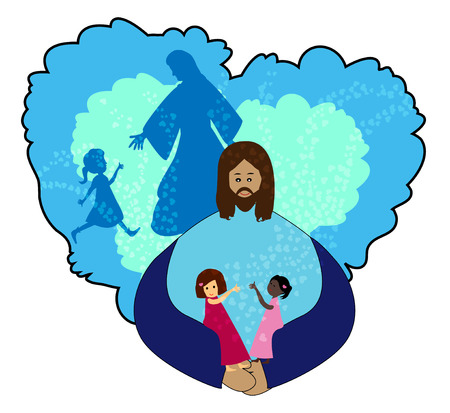 Jesus love Children illustration  Vector