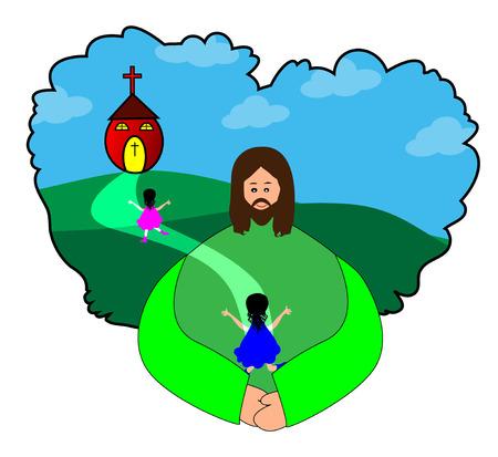 familia orando: Felices los niños ir a la Iglesia - Jesús Cristo