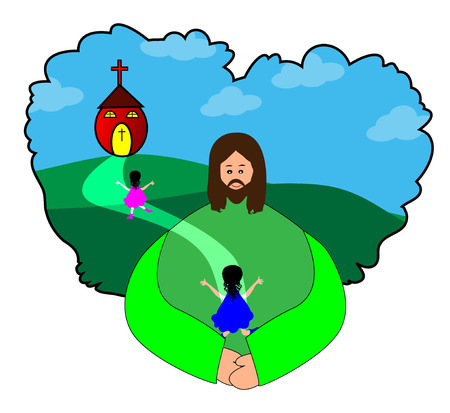 Happy children going to church - Jesus Christ Vector