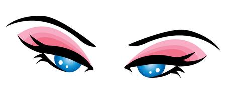 ojo azul: Close-up hermoso ojo azul de ni�a de la ilustraci�n-Vector