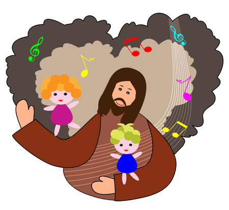 praise: Children praise the lord with heart background and music notes Illustration