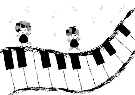 singing silhouette: Children dancing and singing on piano keyboard