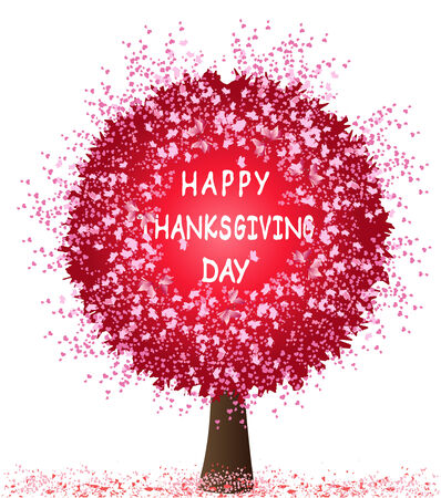happy thanksgiving: Happy thanksgiving day card with tree and hearts Illustration