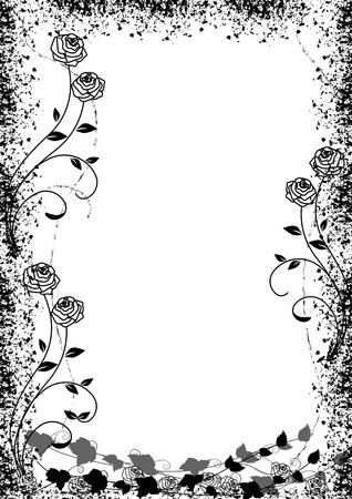 Black roses silhouette frame with space for your text