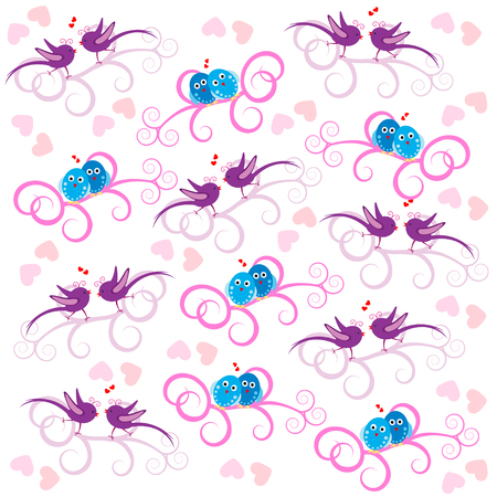 Romantic seamless pattern with birds and hearts  Vector