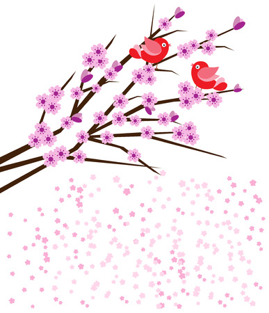 two birds: Birds on branch with pink cherry blossoms-space for text
