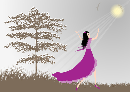 song bird: Beautiful girl praise the lord with dance Illustration