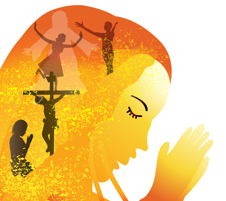 alabando a dios: La oración-la crucifixión y resurrección de Jesús Vectores
