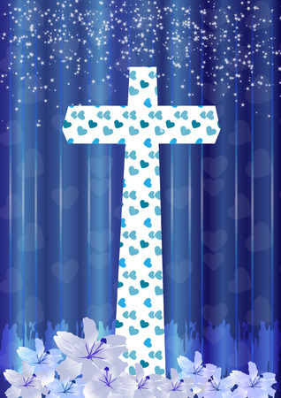 worshiping: Christian cross and lily flower