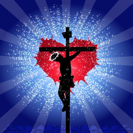 God is liefde - Jezus Christus gekruisigd Vector Illustratie