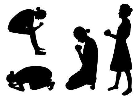 jesus praying: Praying silhouettes
