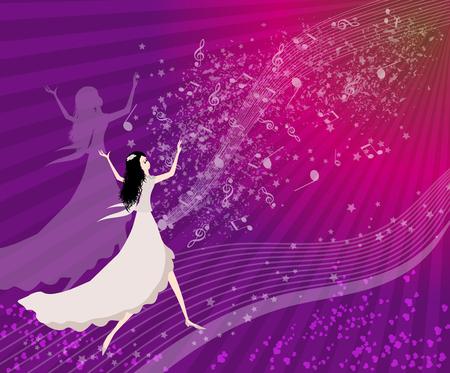 Happy women dancing  Vector