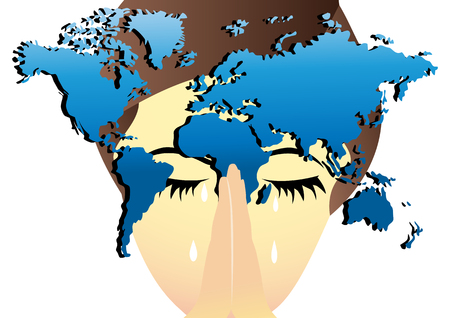 Woman praying for the world and crying Vector