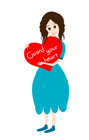 be careful: Girl with heart- Guard your heart concept