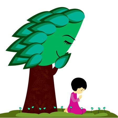 A cute little girl kneeling and praying  Ilustração