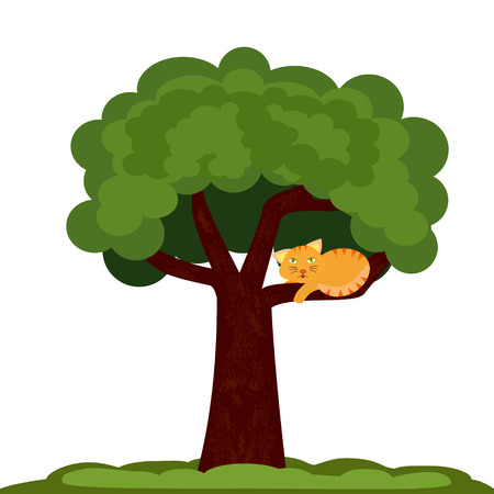 Illustration of a cat sitting on a tree