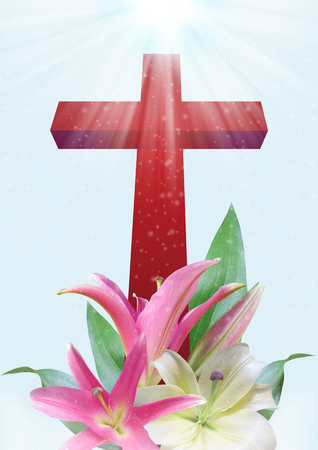 Christian cross and beautiful lily flower on blue background photo