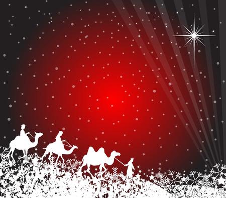 Illustratie van de drie wijzen op hun weg naar Bethlehem