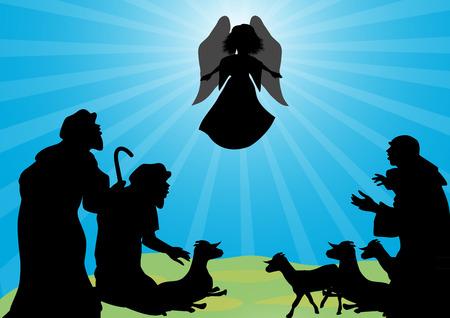 Herders en angel-Angel kondigde aan de herders de geboorte van Jezus