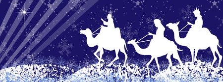 star of bethlehem: Three wise men silhouette