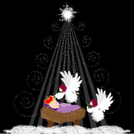 baby jesus: Baby Jesus with angel Illustration