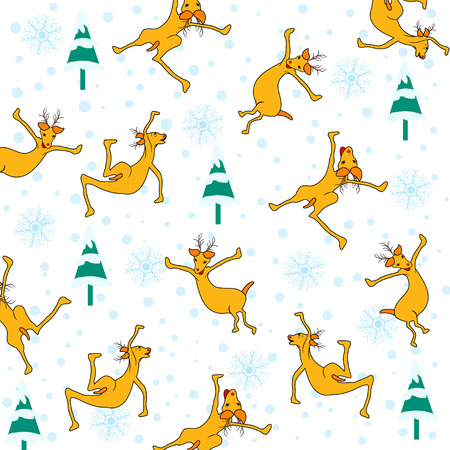 Christmas seamless pattern with reindeer,snowflakes and Christmas tree Vector