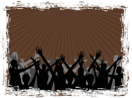 arms raised: Silhouette of a group people on brown background