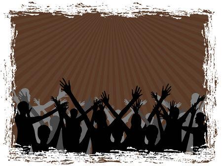 grupo de pessoas: Silhueta de um grupo de pessoas no fundo marrom Ilustra��o
