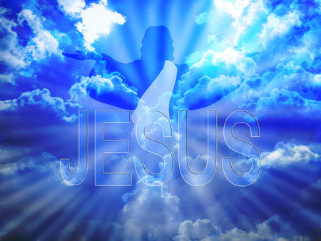to believe: Jesus Christ in blue sky and word Jesus Stock Photo