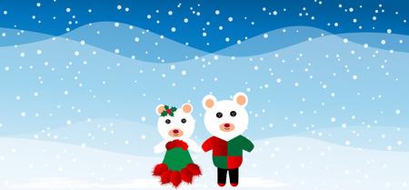 teddy bears: Dos osos de peluche de Navidad