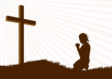 praise and worship: Silhouette of a woman praying under the cross
