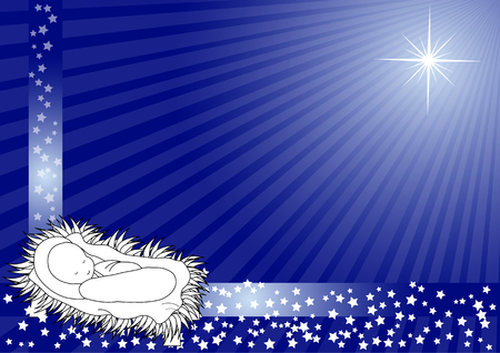 christmas spirit: illustration of baby jesus with star on blue background