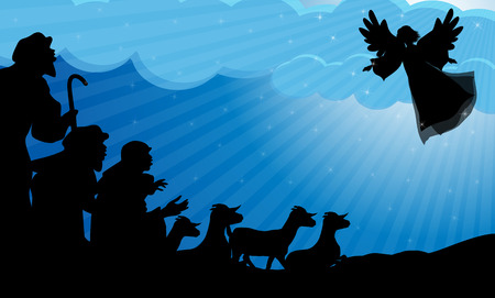 Angel announced to the shepherds the birth of Jesus 版權商用圖片 - 34205836