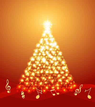 Christmas tree made of musical notes and stars Ilustração