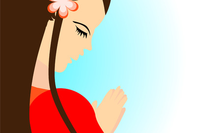 praise and worship: Beautiful girl praying peacefully in vector format