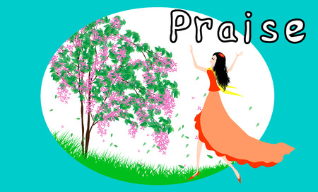 freedom woman: Beautiful girl praise the lord with dance Illustration