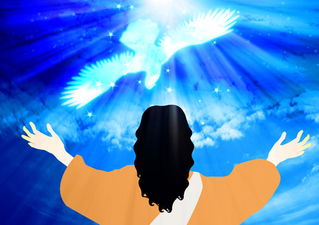baptizing: The Baptism of Jesus.Jesus saw the heavens open up and the Holy Spirit descending like a dove.