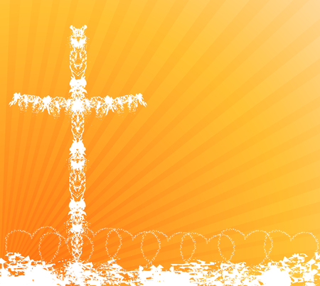 grunge cross: Border created by hearts and cross -Religious Border