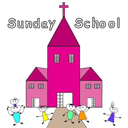 Kinderen gaan naar de zondagsschool Christelijk zondagsschool Stock Illustratie