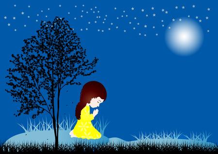 Vector illustration of a little girl praying