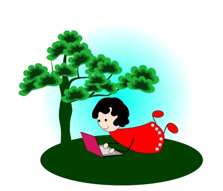 surfing the net: Girl with laptop under a tree-Vector illustration