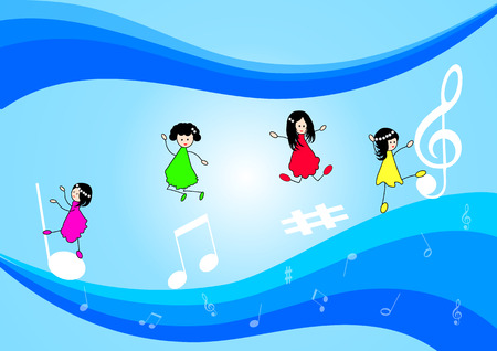praise: Vector musical background with music notes and children
