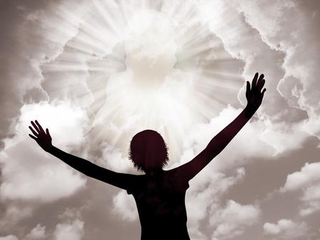 Jonge vrouw aanbidding en lofprijzing van de Heer