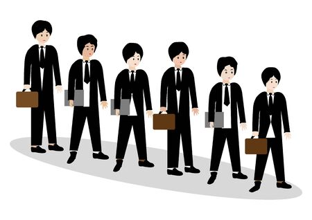 impatient: Businessmen standing in a line and waiting-Vector illustration Illustration