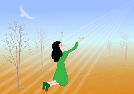 femme dessin: Fille prier pour la pluie -vector illustration