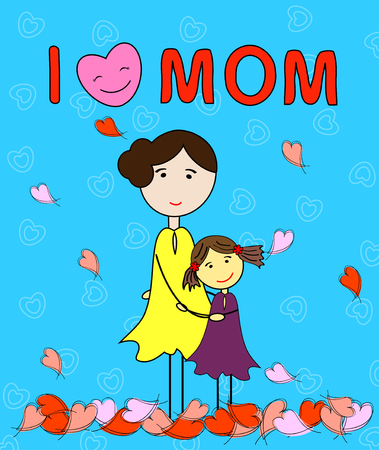 love mom: l amor Hija mam�-abraza a su madre el d�a de madre -Happy