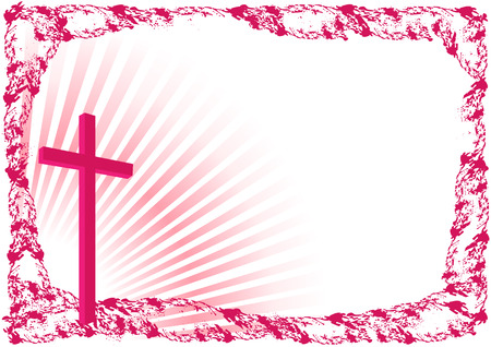 Easter background with cross and place for text -Vector illustration  イラスト・ベクター素材