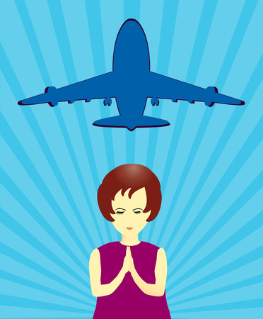 come back: Girl pray for missing airplane in vector format