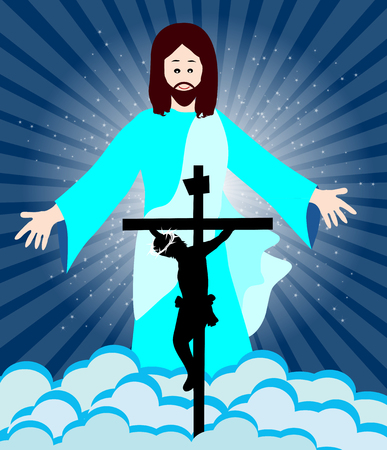 risen: Crucifixion and resurrection of Jesus- Christ is Risen Illustration