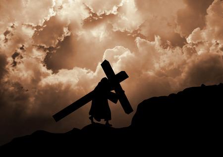 calvary: Jesus Christ carrying the cross up Calvary